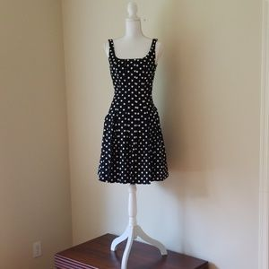 Chaps Black and White Polka Dot Dress